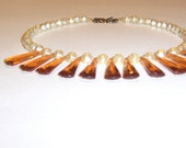 Vintage Topaz Drop and Pearl Repurposed Necklace
