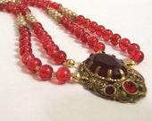 Crimson Empress Necklace Recycled Vintage