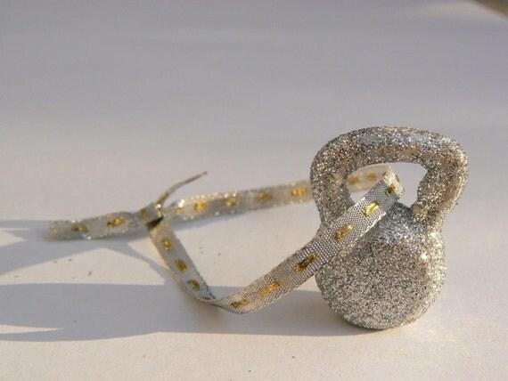 Silver Glitter Kettlebell Ornament