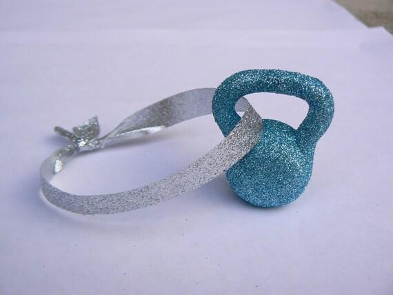Light Blue Glitter Kettlebell Ornament