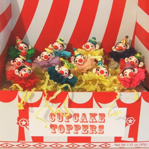 Carnival Clowns Cupcake Toppers