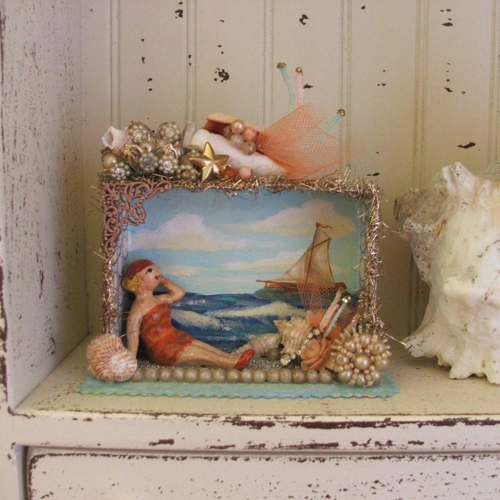 Beach Theme Home Decor Shadow Box Beach Gift: Seashore/Summer Diorama/Shadowbox