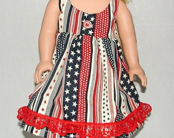 Patriotic Pinafore or Sundress for 18 Inch Dolls