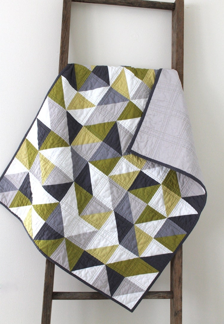 A Modern Geometric Baby Quilt By Craftyblossom On Etsy