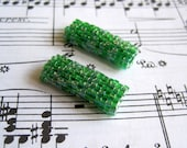 Beaded Beads - Set of Two - Sparkling Green by randomcreative on Etsy