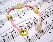 DISCONTINUING Beaded Bracelet - Skinny Pastels Yellow Pink by randomcreative on Etsy
