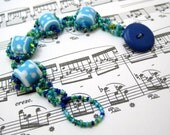 Beaded Bracelet - Blue Green Dotted Ocean by randomcreative on Etsy