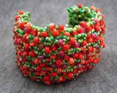 Beaded Cuff Bracelet - Strawberry Fields Forever by randomcreative on Etsy