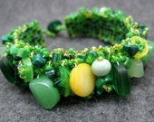 Beaded Cuff Bracelet - Green Emerald Spring by randomcreative on Etsy