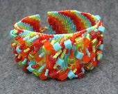 Beaded Cuff Bracelet - Climbing the Bargello Rainbow Bright Multicolored Colorful by randomcreative on Etsy