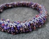Beaded Bangle Bracelet  Purple by randomcreative on Etsy