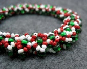 Beaded Bangle Bracelet - Christmas Red Green White by randomcreative on Etsy