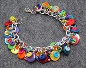 Button Charm Bracelet / Bright Colorful Jewelry / Fun Multicolored Rainbow Piece by randomcreative on Etsy