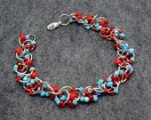Beaded Bracelet - Silver Links - Turquoise and Red by randomcreative on Etsy