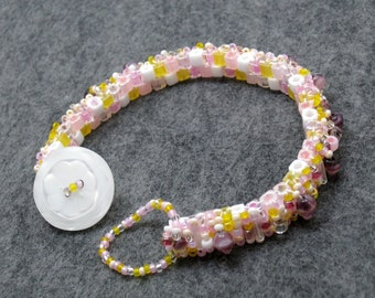 Beaded Cuff Bracelet Skinny Birthday Cake Yellow Pink White by randomcreative on Etsy