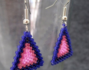 Beaded Dangle Earrings - Peyote Triangles - Purple Striped by randomcreative on Etsy