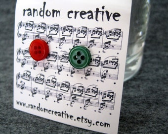 FREE SHIPPING in the US Button Post Stud Earrings - Christmas Red Green by randomcreative on Etsy
