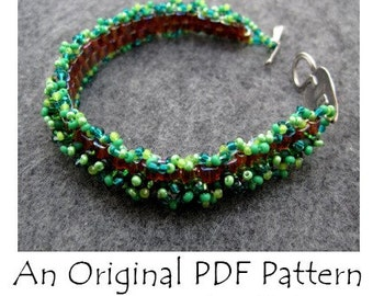 PDF Beading Pattern Tutorial - Skinny Fringed Peyote Cuff Bracelet - For Personal Use by randomcreative on Etsy