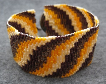 Beaded Cuff Bracelet - Cream, Caramel, and Chocolate Brown Layers by randomcreative on Etsy