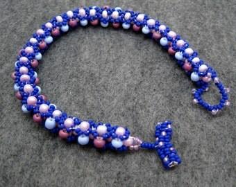 Beaded Bracelet - Purple and Blue by randomcreative on Etsy