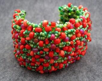 Beaded Cuff Bracelet - Strawberry Fields Forever by randomcreative on Etsy