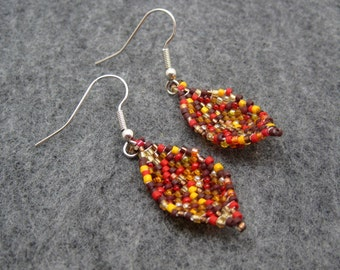 Beaded Dangle Earrings - Fall Autumn Leaves by randomcreative on Etsy