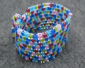 SALE Beaded Cuff Bracelet - Multicolored Cubes by randomcreative on Etsy