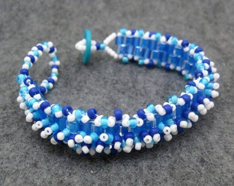 Beaded Cuff Bracelet - Skinny Blue Turquoise and White by randomcreative