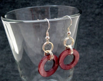 Silver Dangle Earrings - Purple Shell Simple Elegant by randomcreative on Etsy