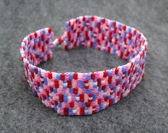 Beaded Cuff Bracelet - Whimsical Manicure Girly Red Pink Purple by randomcreative on Etsy