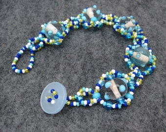 Beaded Bracelet - Turquoise Dotted Dream by randomcreative on Etsy