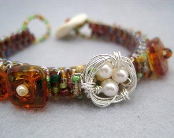 Beaded Cuff Bracelet - Skinny Wrapped - Nest Earth Tones Brown Green Lampwork by randomcreative on Etsy
