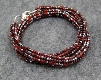 AS SEEN IN Beaded Wrap Bracelet Necklace - Maroon Red Brown by randomcreative on Etsy