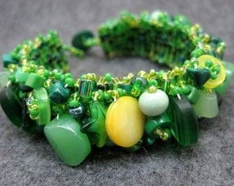 Beaded Cuff Bracelet - Green Emerald Spring by randomcreative on Etsy