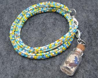 Beaded Wrap Bracelet Necklace - Your Tropical Destination Turquoise Blue Yellow by randomcreative on Etsy