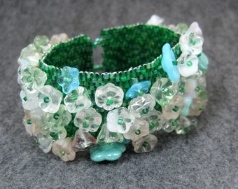 Beaded Cuff Bracelet - Easter Morning Green Flowers by randomcreative on Etsy