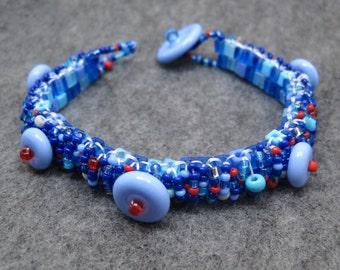 Beaded Cuff Bracelet - Skinny Nautical Blue Red Gray by randomcreative on Etsy