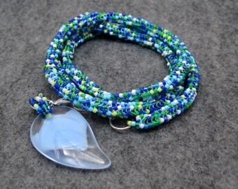 Beaded Wrap Bracelet Necklace - Blue Green - Detachable Leaf Charm by randomcreative on Etsy