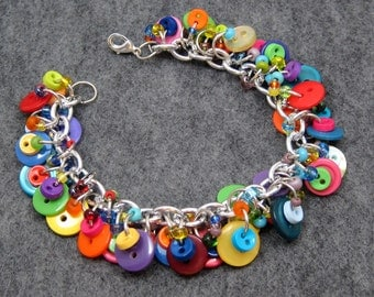 Button Charm Bracelet / Bright Colorful Jewelry / Fun Multicolored Rainbow Piece by randomcreative on Etsy