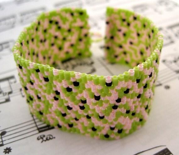SALE Beaded Cuff Bracelet - Abstract Watermelon Light Green Pink Black by randomcreative on Etsy