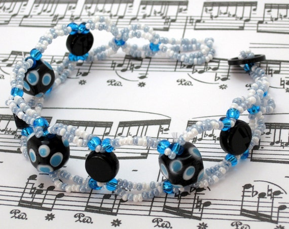 Beaded Bracelet - Blue Dotted by randomcreative on Etsy