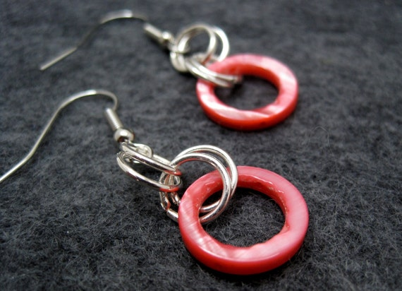 Silver Dangle Earrings - Pink Shell by randomcreative on Etsy