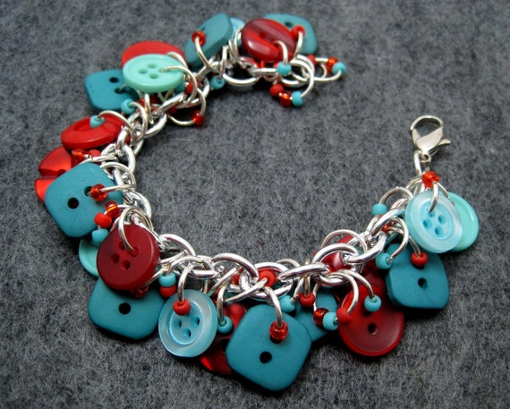 Button Charm Bracelet - Turquoise and Red by randomcreative on Etsy