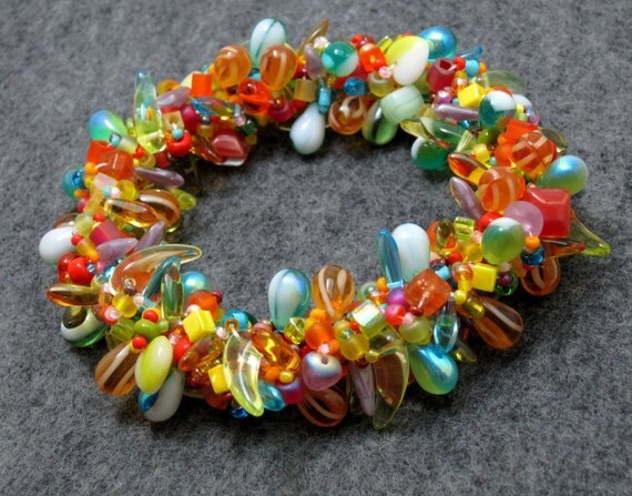 Beaded Bangle Bracelet - A Material Girl's True Colors 80s Neon Bright Multicolored by randomcreative on Etsy