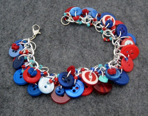 Button Charm Bracelet - Blue and Red by randomcreative on Etsy
