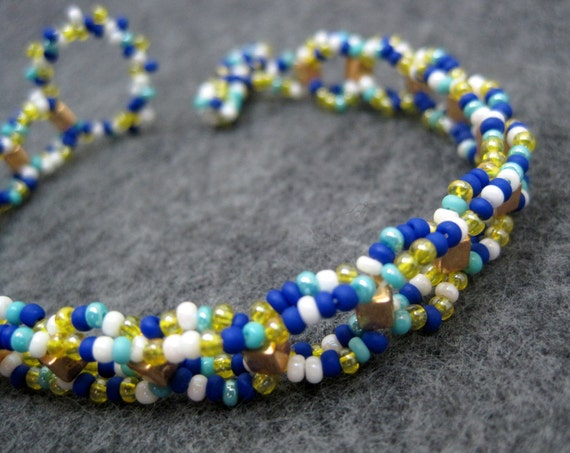 Beaded Bracelet - Multicolored Blue Yellow White Simple Fun by randomcreative on Etsy