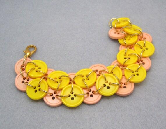 Button Bracelet - Double Yellow by randomcreative on Etsy