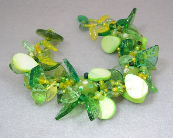 Beaded Bracelet - The Leaf Series - Indian Summer Lime Green Yellow by randomcreative on Etsy