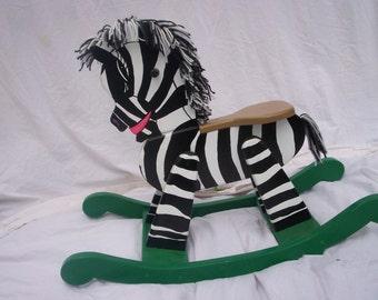 Handmade wooden rocking horse/zebra