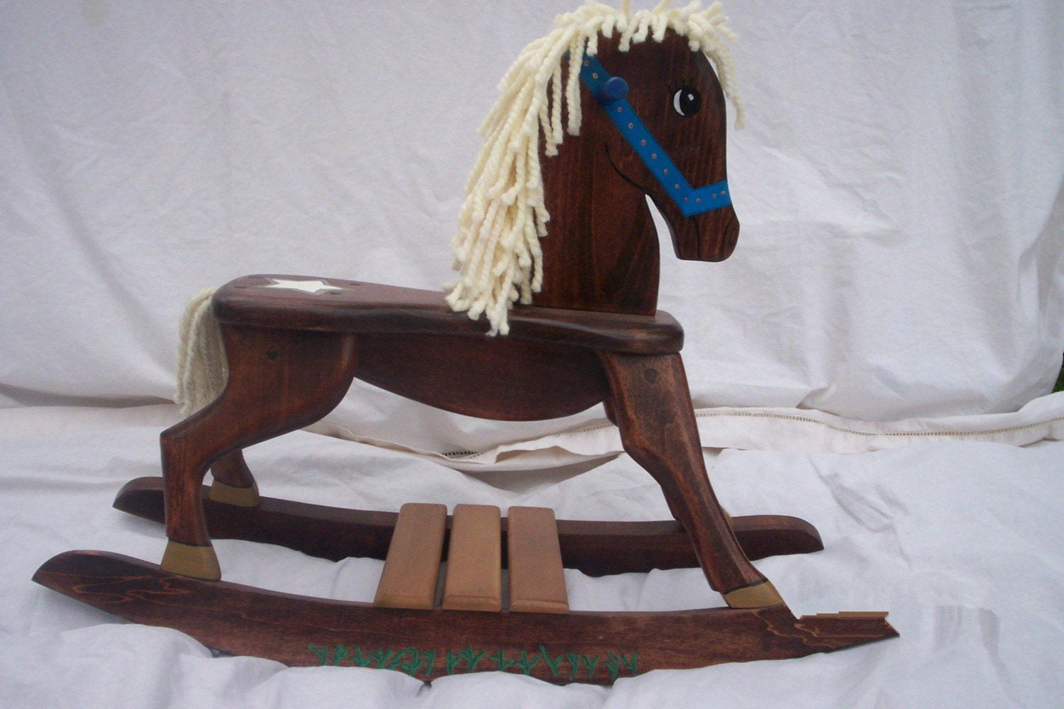 Handmade sheriff star wooden rocking horse